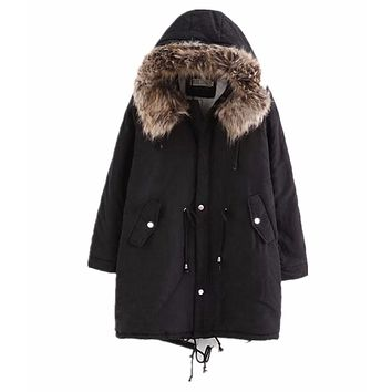 Dreamskull Women Winter Jacket Streetwear Coats Fleece Lineed With Detachable Fur Collar Hooded Warm Oversize Ladies Jackets