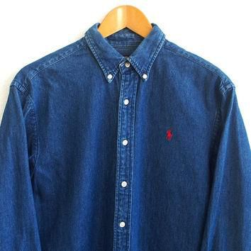 SALE 25% Polo Ralph Lauren Denim Shirt Womens Medium Vintage 90s Ralph Lauren Pony But