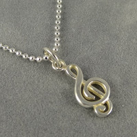 Sterling Treble Clef Necklace, G-Clef Music Note Charm, Music Symbol Charm