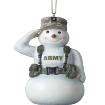 Army Snowman Salute Ornament