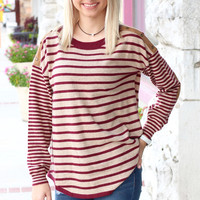 Old School Stripe + Suede Elbow Patch Sweater {Wine}