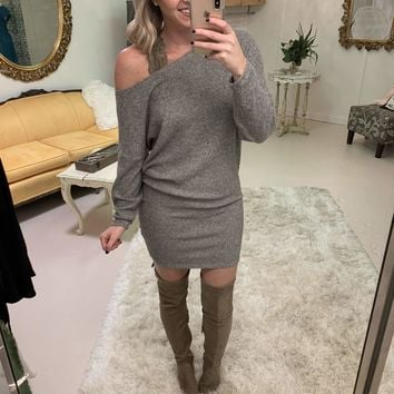 Off Kilter One Shoulder Tunic in Grey