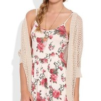 Floral Rose Slip Dress with Spaghetti Straps