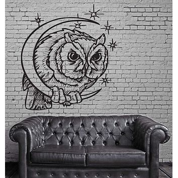 Owl Moon Head Predator Aggressive Tribal Mural Wall Art Decor Vinyl Sticker Unique Gift z917