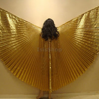 Cute Golden Lame Bellydance Costume ISIS WINGS