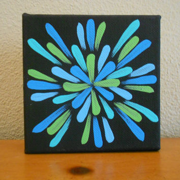 Painting Turquoise Lime Green Flower Aboriginal Inspired by Acires