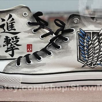 attack on titan anime custom converse attack on titan hand painted shoes survey legi