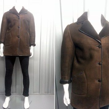 70s Sheepskin Coat Leather Trim Mens Small Mens Outerwear Lambskin Shearling Jacket Chocolate Brown Suede Fabric 1970s Clothing
