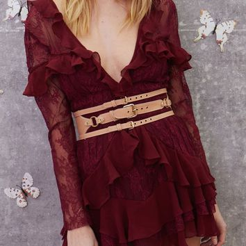FOR LOVE & LEMONS | Daphne Lace Mini Dress - Bordeaux