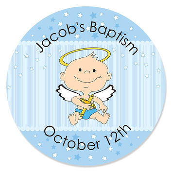 Angel Baby Boy - Personalized Baptism Sticker Labels - 24 ct