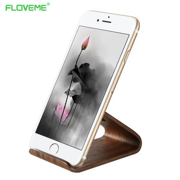 FLOVEME Natural Wooden Phone Stand Holder For iPhone 6 6s 7 Plus  Universal Walnut Desk Tablets Holder For iPad Air 5 6 Mini 2 3