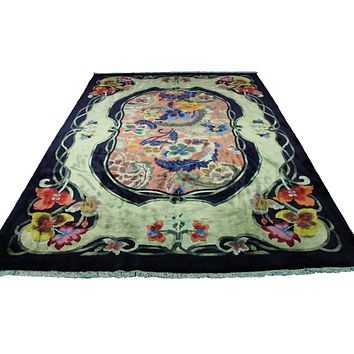 9x12 Overdyed Emerald Green Formal Floral Deco Wool Rug 2901
