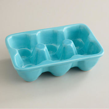 Aqua Ceramic Half Egg Crate - World Market