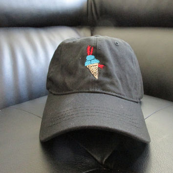 138d784b Custom Gucci Mane Ice Cream Cone Meme Unstructured Twill Cotton Dad Hat,  Guwop Black Adjustable