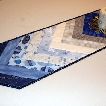 Christmas Quilted Table Runner - Blues and Silver Metallic - Wedding Gift - Elegant Quilt Decor - Hostess Gift