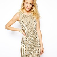 Needle & Thread Geo Sundown Mini Dress - Chalk/gold