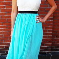 Sweetheart Maxi Dress – Turquoise Strapless Maxi Dress with Lace Sweetheart Top