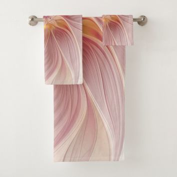 Soft Pink Floral Dream Abstract Modern Flower Bath Towel Set