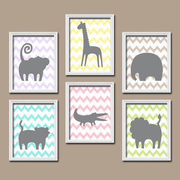 GIRL Jungle Theme Safari Animals Jungle Nursery ZOO Baby Girl Nursery Wall Art Girl Bedroom Pictures CANVAS or Prints Decor Set of 6