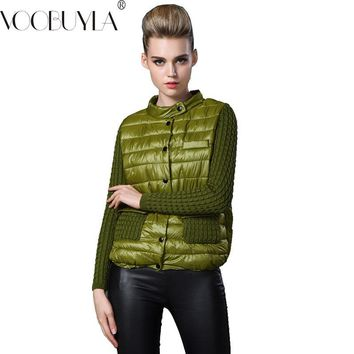 VooBuyLa Fashion Plus Size 6XL 7XL 2017 Autumn Short Oversized Jacket Women Slim Stitching Yarn Sleeve Down Cotton Parka Coat