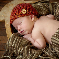 Crochet Baby Beanie Boy or Girl Adorned with a Wooden Button 0-3 month or 3-6 Month Pick your Color Perfect Newborn Photo Prop for fall