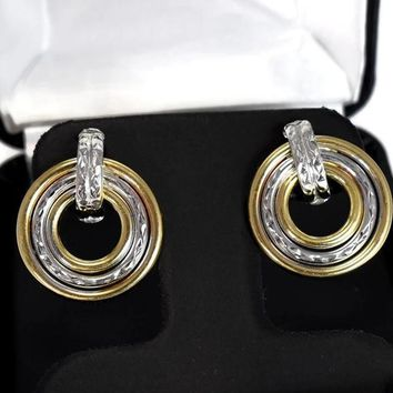 14k Yellow White Gold Drop Circle Earrings Vintage Two Tone