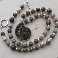 Ammonite Fossil, Red Creek Jasper Gemstone, Freshwater Pearl Necklace