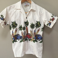 Vintage Kids Hawaiian Shirt, Youth L Vintage Shirt, Short Sleeve Button Down Shirt boys large Palm Trees Kids Tiki Shirt boys L kids vintage