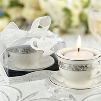24 Silver Tea Light Tea Cup Candle Bridal Wedding Favors