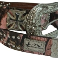 Montana West Womens Camo Belt Studded Leather with Crosses and Rhinestones- Available in Choice of Color and Size