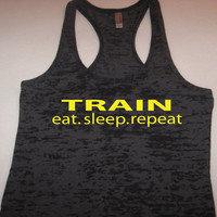 Train Eat Sleep Repeat Womens Motivational Fitness Workout Racerback Black Tank Top