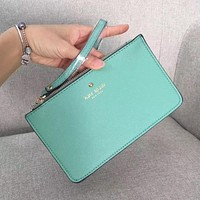Kate Spade Simple Zipper Wrist Bag Handbag Wallet Mint green (22 color)