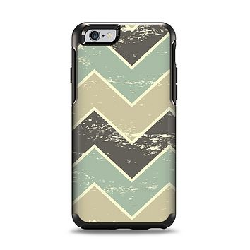 The Vintage Tan & Green Scratch Tall Chevron Apple iPhone 6 Otterbox Symmetry Case Skin Set