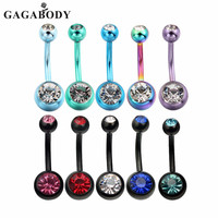 Fashion Lot of 10 Pack Belly Rings Body Jewelry Piercing 14 Gauge Stainless Steel Crystal Gem Belly Navel Button Ring