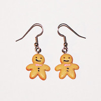 Gingerbread Man Cookie Earrings