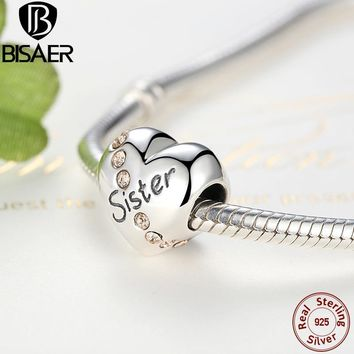AUTHENTICl 925 Sterling Silver Sister Heart Rhinestone  Fit ORIGINAL Bracelet