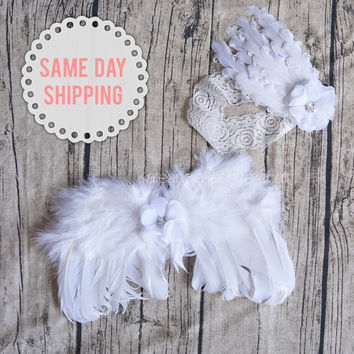 Baby angel wings newborn photography prop feather wings photo prop with lace flower headband