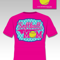 Sassy Frass Collection Preppy Softball Mom Quatrefoil Sports Bright Girlie T Shirt