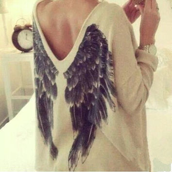 Print Wings Sweater Blouse [7279391815]