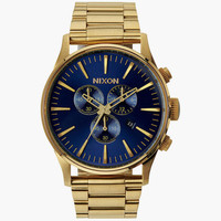 Nixon Sentry Chrono Watch Gold/Blue Sunray One Size For Men 25976924901