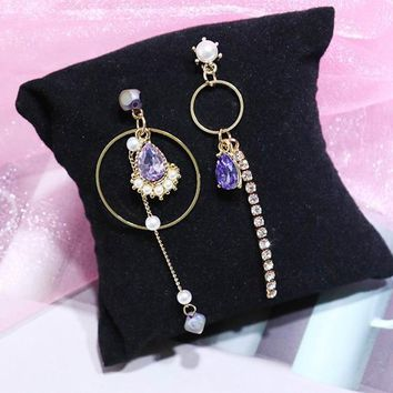 MENGJIQIAO 2018 Korean Big Small Circle Water Drop Crystal Asymmetric Earrings For Women Fashion Jewelry Rhinestone Pendientes
