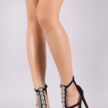 Rhinestone Vegan Suede Triple Strap Open Toe Stiletto Heel