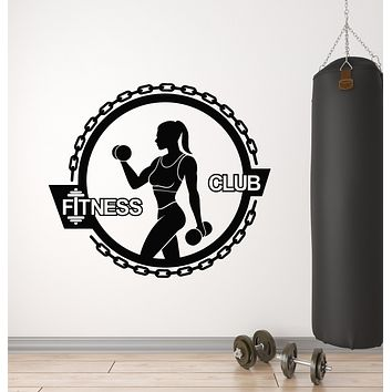 Vinyl Wall Decal Muscle Woman Gym Fitness Sports Healthy Lifestyle Stickers Mural (g2978)