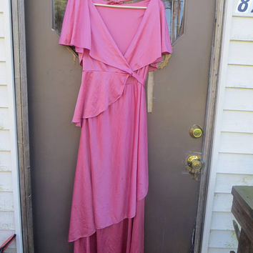 vintage 70s  pink  wrap around angel wings  sleeves maxi dress