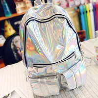 sac a dos Mochila Masculina backpack Women Silver Hologram Laser Back pack men's Bag leather Holographic Backpack