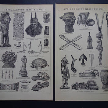 "Pictures of African pottery weapons masks money Original 1905 antique print about art and artefacts from Africa 15x25c 6x10"" two prints set"
