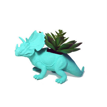 Up-cycled Sea Breeze Triceratops Planter