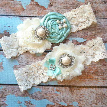 Wedding garter SET / Tiffany blue /YOU DESIGN / wedding garters/ bridal  garter/  lace garter / toss garter / vintage lace garter