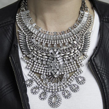 Silver Metal and Crystal Necklace