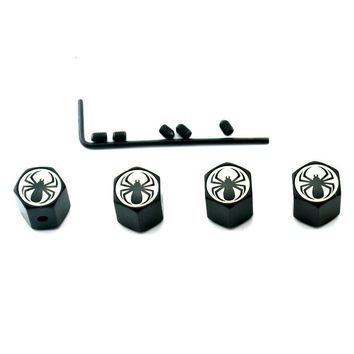 Spider Logo Auto Car Wheel Tyre Valve Dust Caps